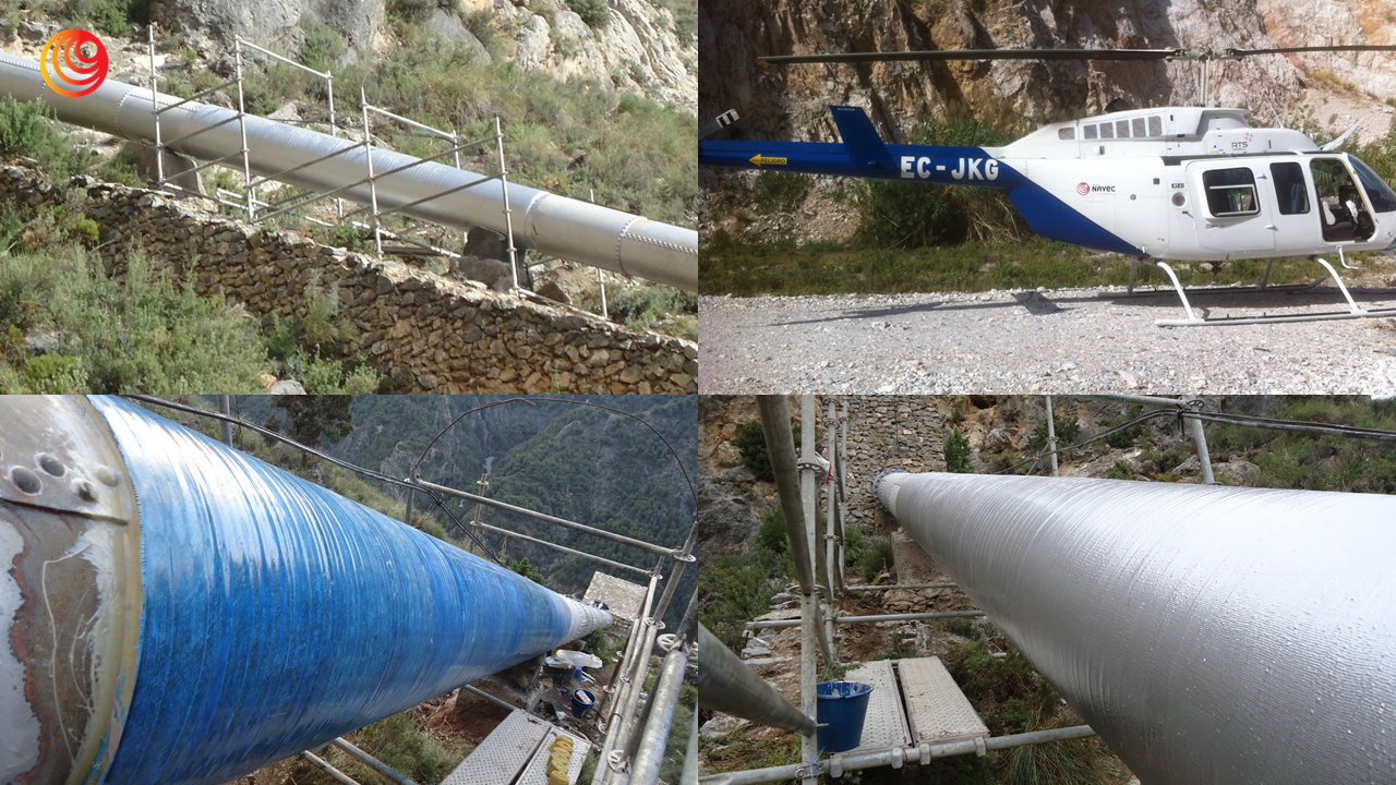 Grupo Navec , en la realización del refuerzo estructural con composites de la tubería forzada de 730 mm de la Central Hidroeléctrica de Dilar.